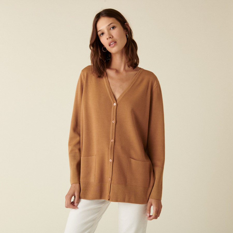V-neck buttoned cardigan in merino wool - Alister