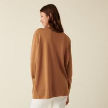 Long cardigan boutonné col V en laine mérinos - Alister 7430 noisette - 88 Camel