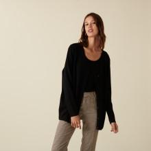 Long cardigan boutonné col V en laine mérinos - Alister 7410 noir - 01 Noir