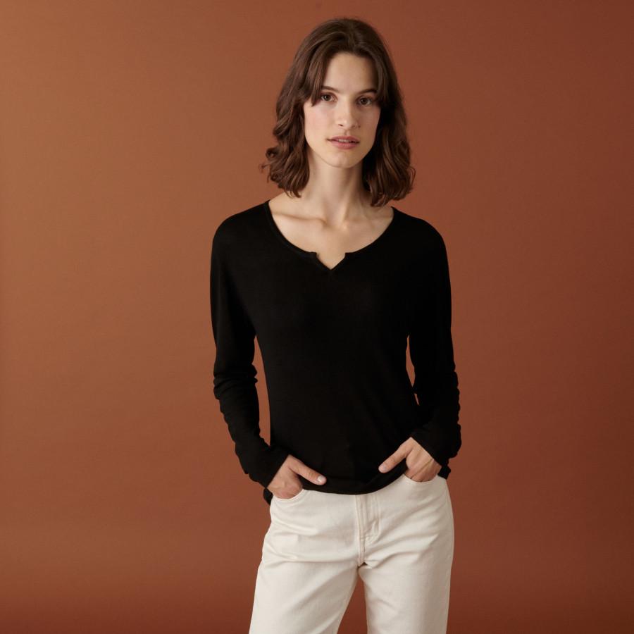 T-shirt col tunisien en bambou cachemire fine maille - Betty 7410 noir - 01 Noir