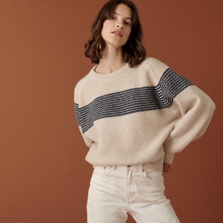 Pull manches raglan bicolore en laine cocon - Dilia 7579 ecru/marine - 82 Ecru
