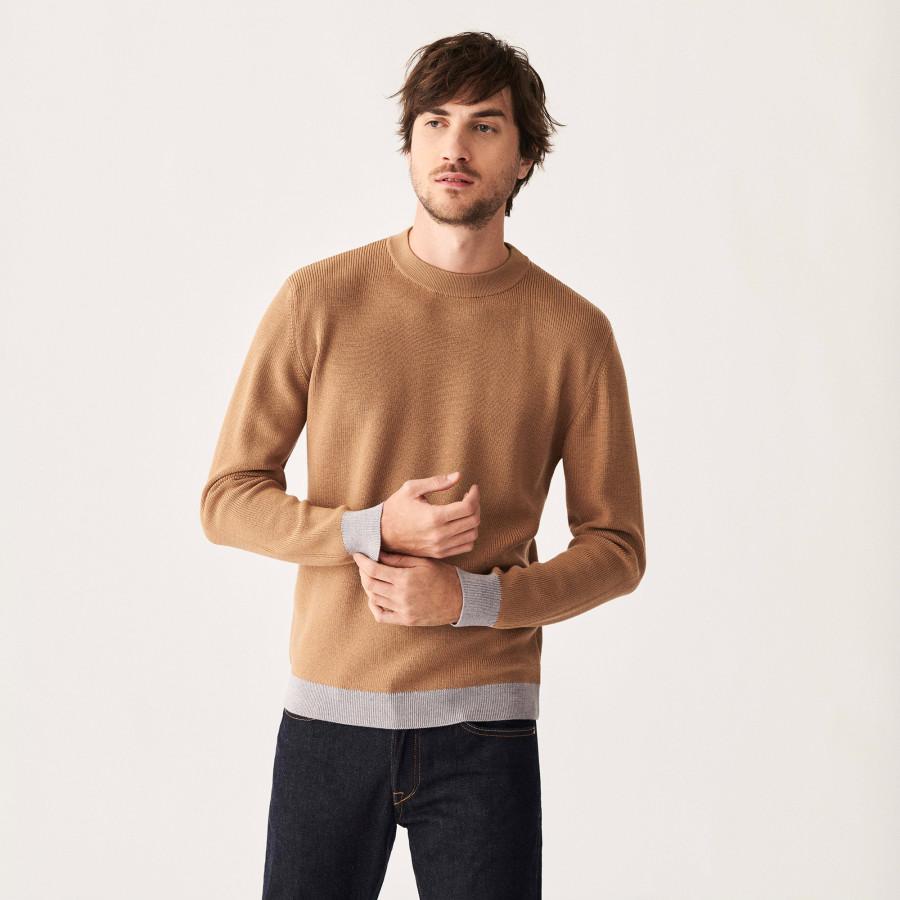 Pull col rond bicolore en laine mérinos - Adrien 7593 gris clair/noisette - 88 Camel