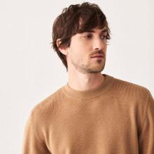 Two-tone round-neck merino wool sweater - Adrien