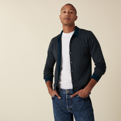 Buttoned overshirt with polo collar in merino wool - Armel