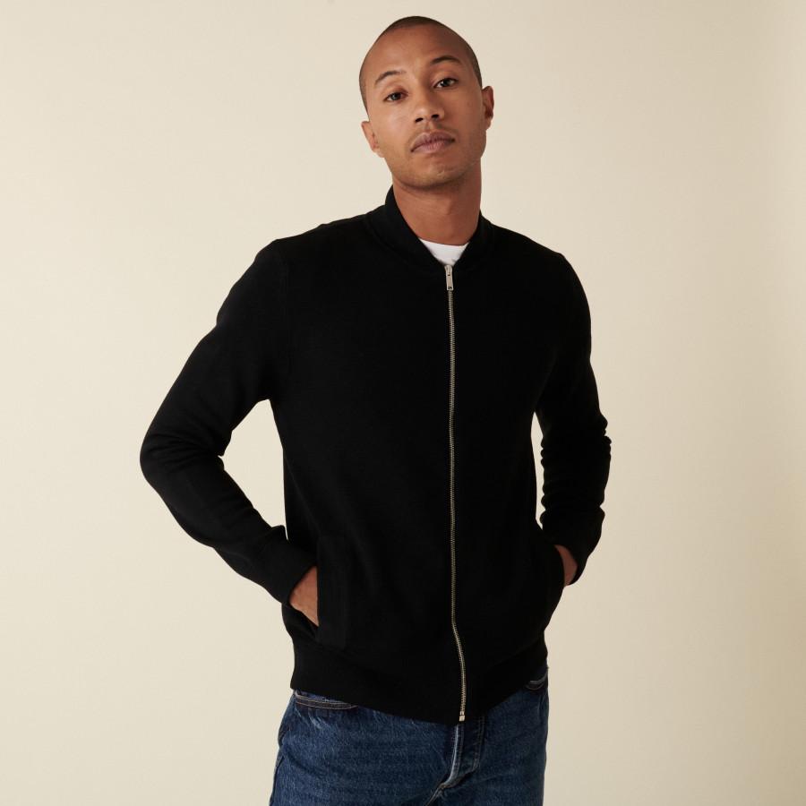 Veste zippée à poches en laine mérinos - Archibald 7578 noir/marine - 01 Noir