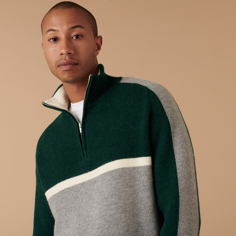 Tricolor alpaca wool sweater with trucker collar - Augustin