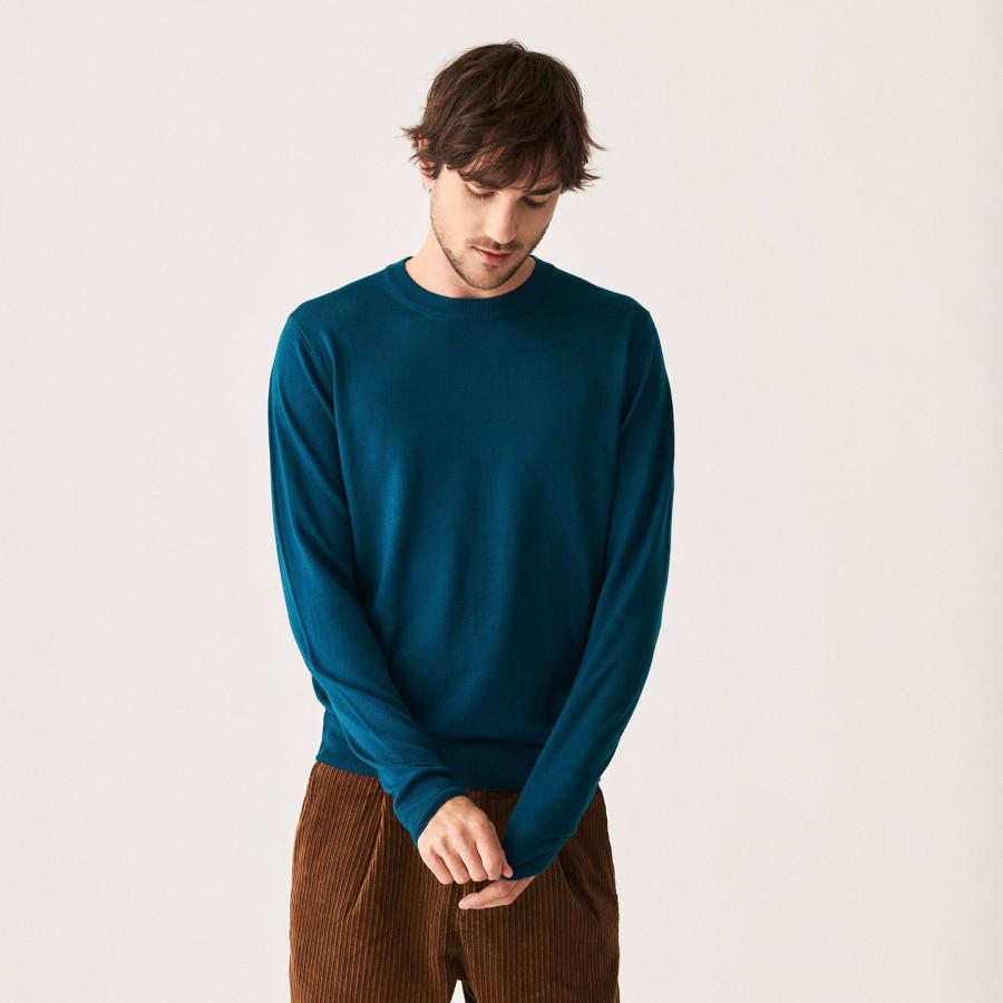 Pull col rond avec logo en laine mérinos - Eddie 7443 paon - 06 Bleu moyen
