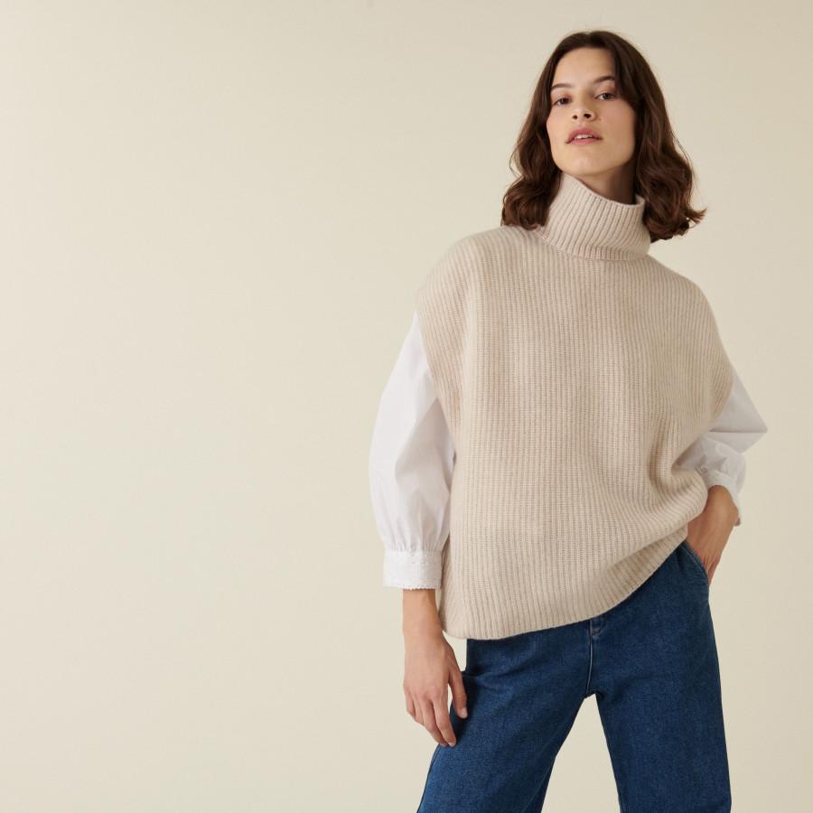 Recycled cashmere sleeveless turtleneck sweater - Dalya
