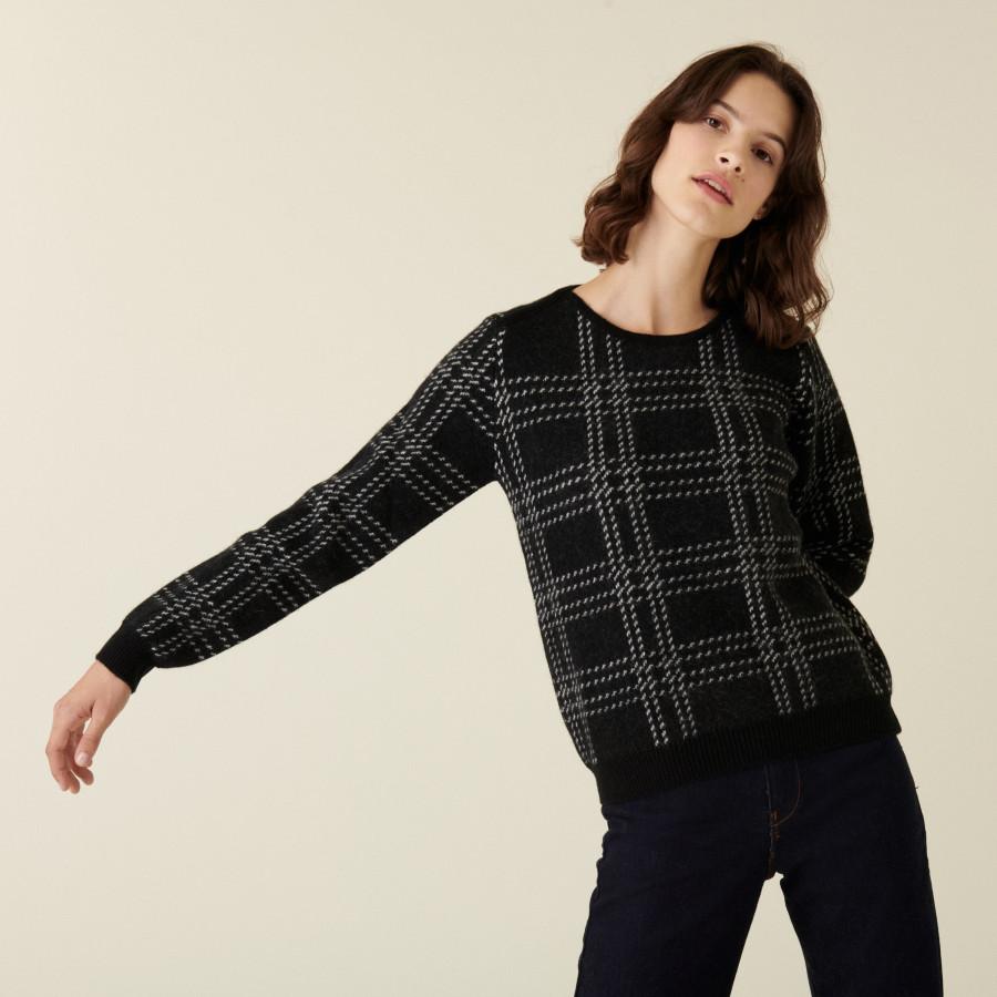 Pull col rond à carreaux en laine alpaga - Carin 7592 noir - 01 Noir