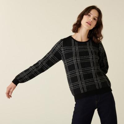 Round-neck checked alpaca wool sweater - Carin