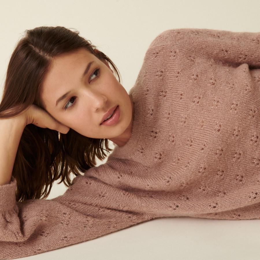 Mohair fancy stitch jumper - Camelia