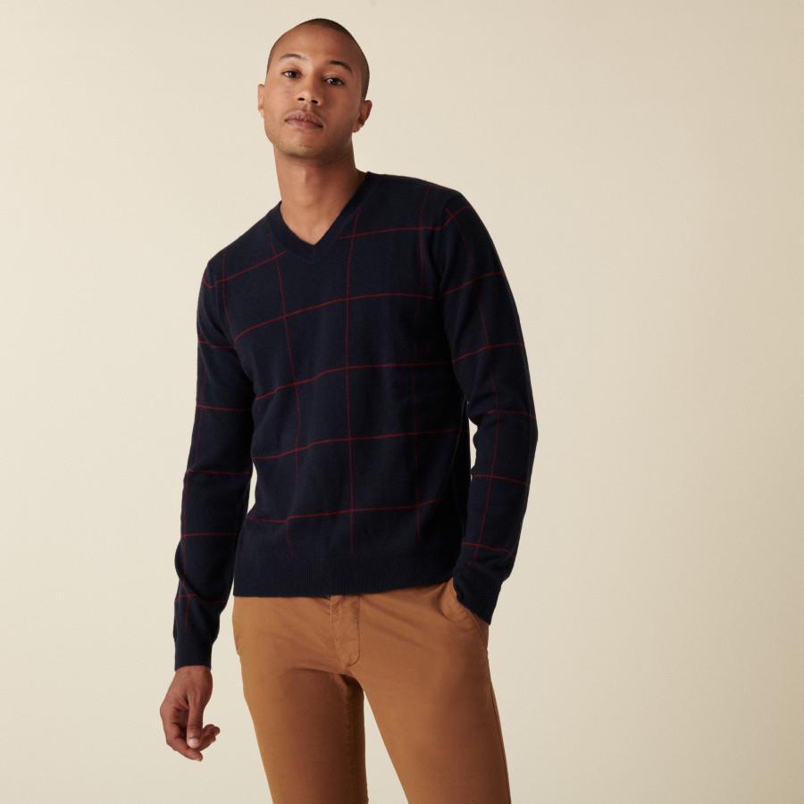 Checkered cashmere V-neck sweater - Arthur