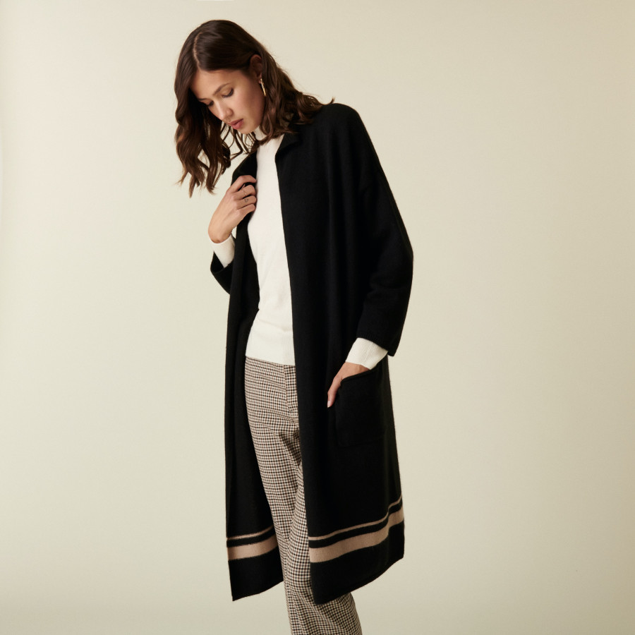 Long 3-ply cashmere cardigan with high collar - Dorys
