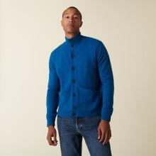 Gilet en cachemire boutonné à poches - Erwan 7443 PAON - 06 Bleu Moyen