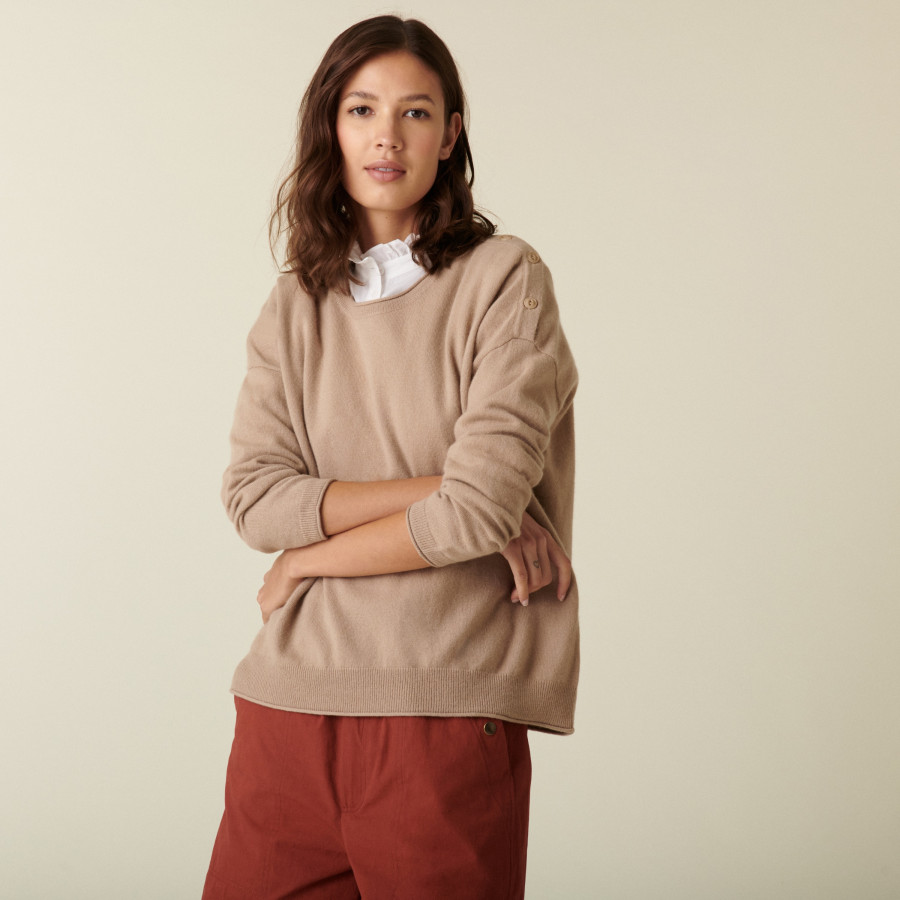 Loose-fit round-neck cashmere sweater - Acene