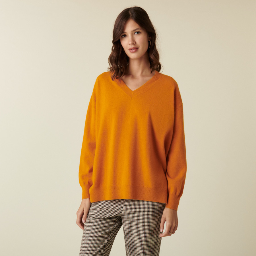 V-neck cashmere sweater with slits and ribbing - Alienor