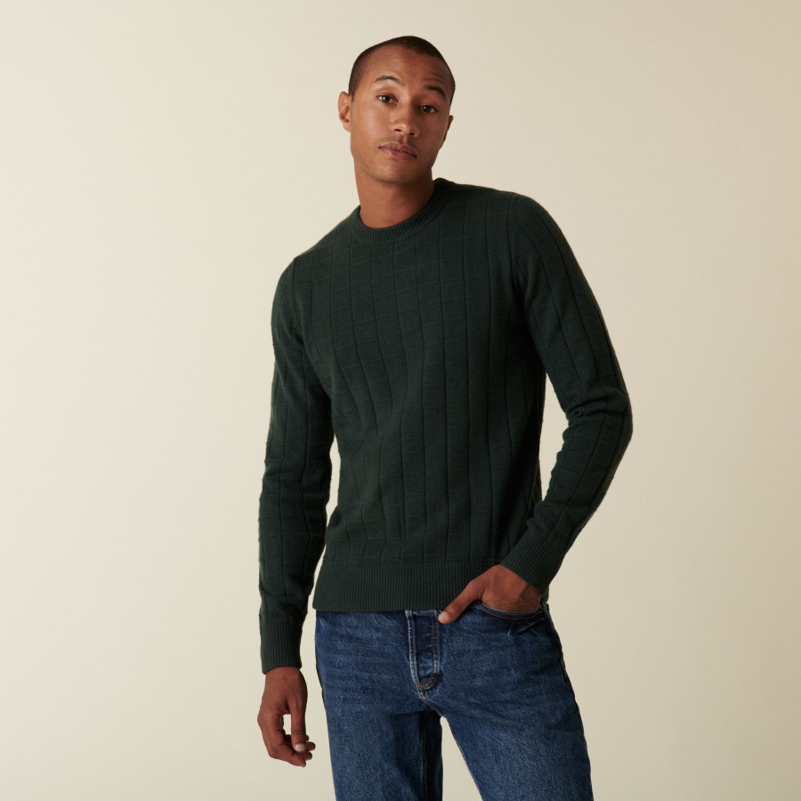 Round-neck cashmere sweater in checkered mesh - Alexis