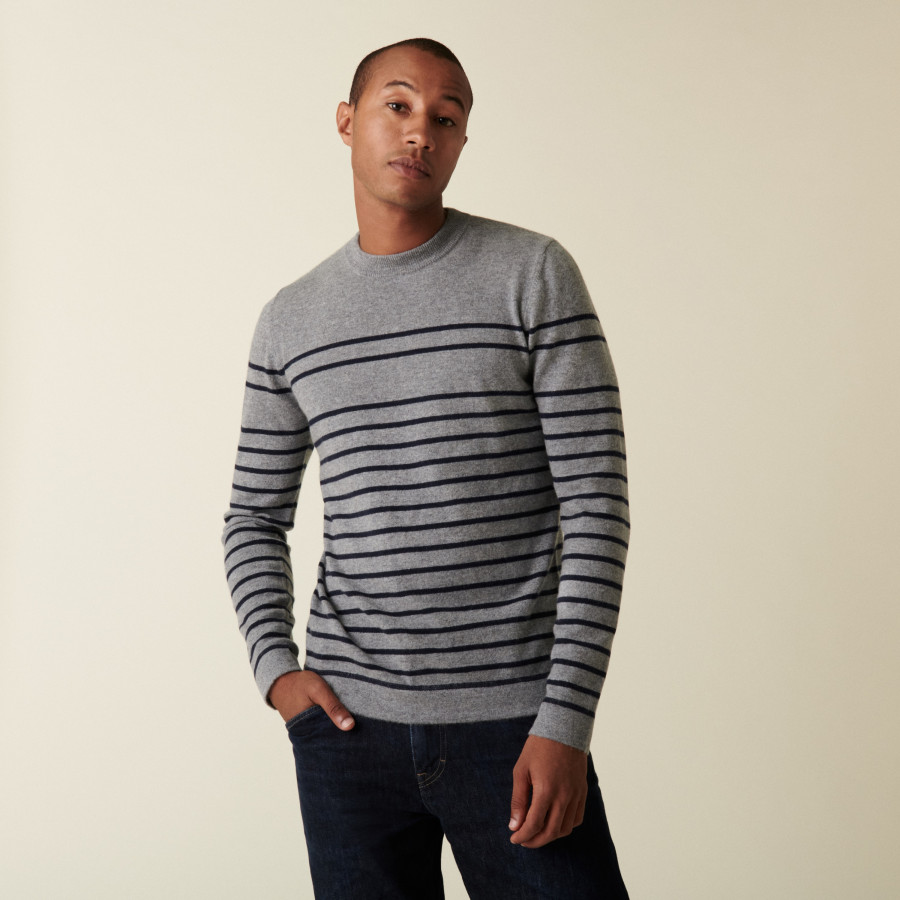 Round-neck striped cashmere sweater - Auguste