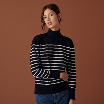 Pull col roulé en laine mérinos finitions bord côtes - Colette