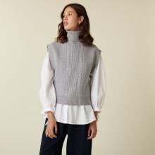 Pull col roulé sans manches en laine mérinos - Claudia 7412 gris clair - 11 Gris clair