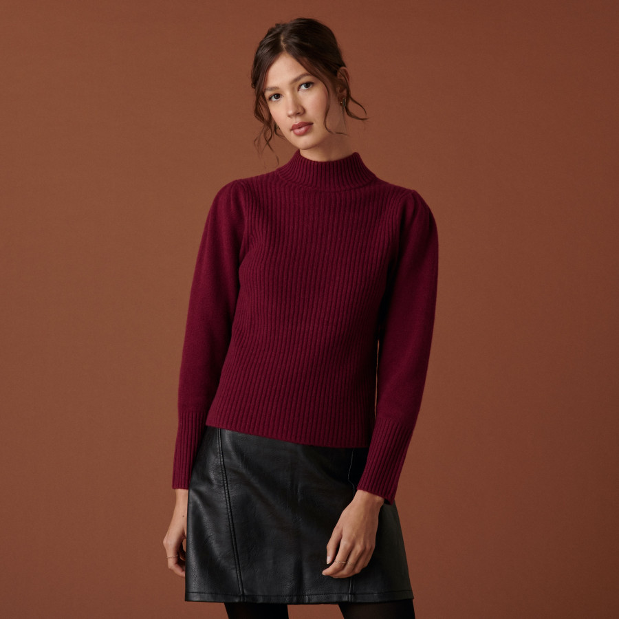 Ribbed knit high neck cashmere sweater - Carene