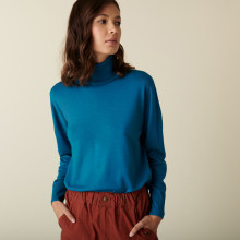 Pull col roulé à fentes en laine mérinos - Amy 7443 paon - 06 Bleu moyen