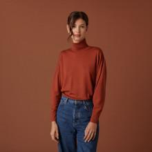 Pull col roulé à fentes en laine mérinos - Amy 7461 cognac - 92 Rouille
