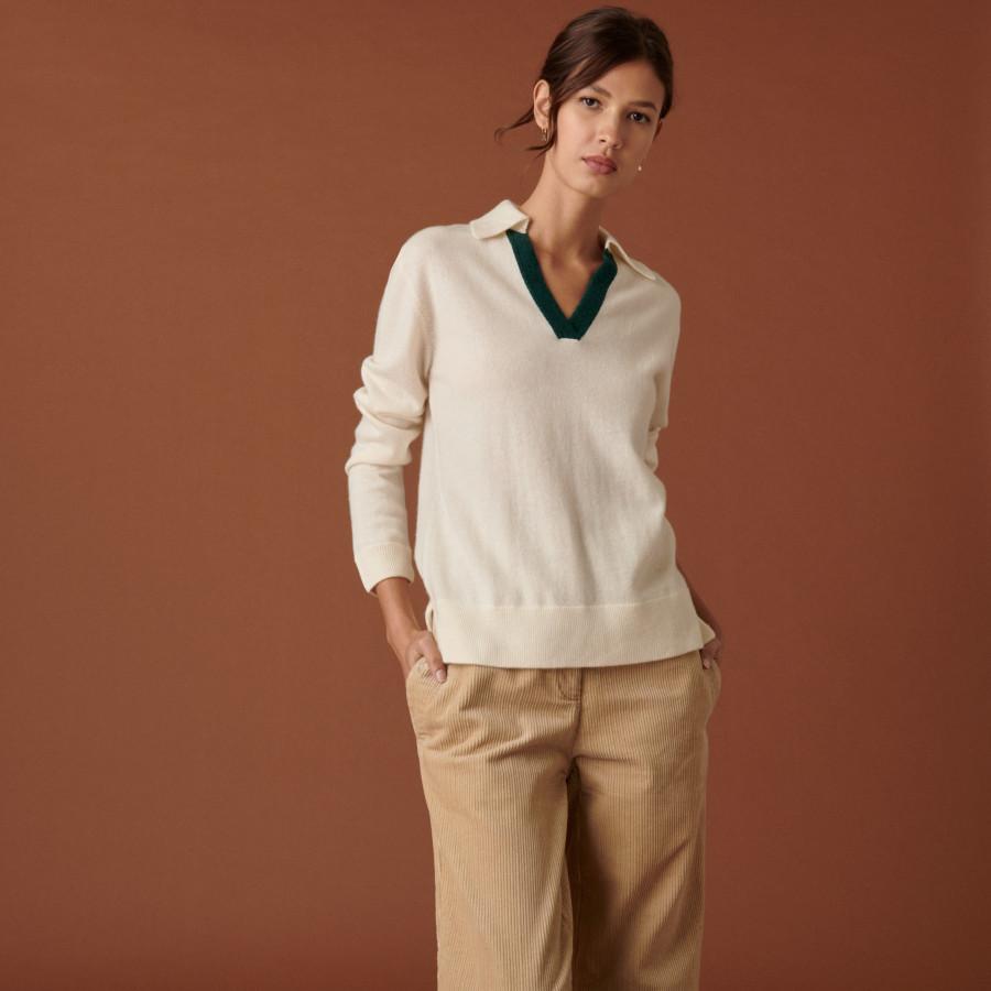 Ribbed cashmere polo neck sweater - Celenie