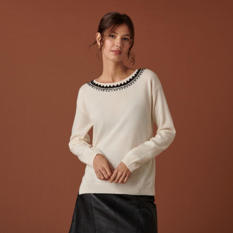 Round-neck embroidered cashmere sweater - Cetanne