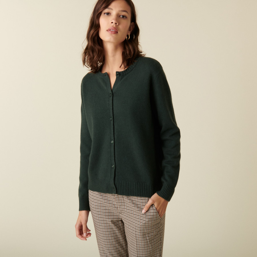 Round neck cashmere cardigan with buttoned - Adelys