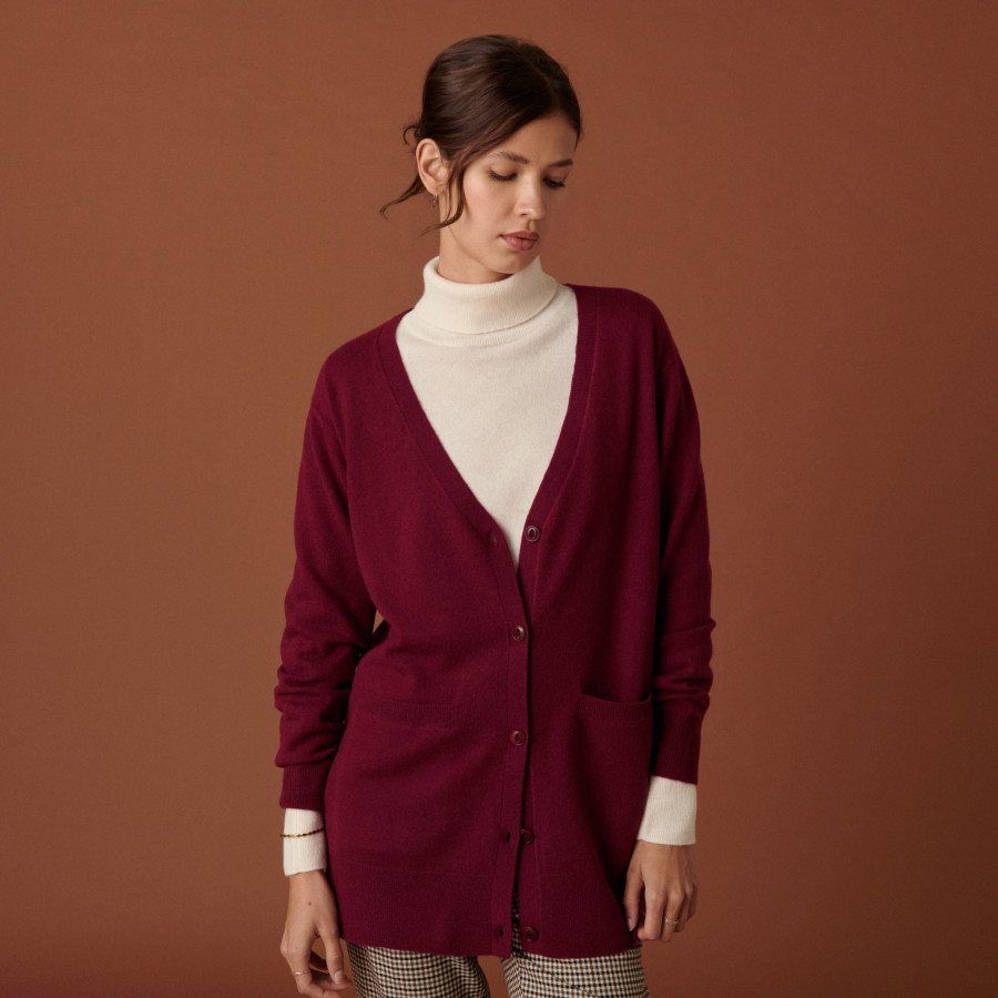 Long V-neck cashmere cardigan with slits and pockets - Aden