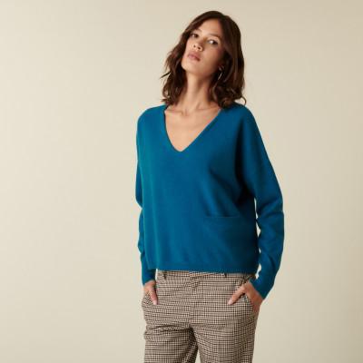Short cashmere V-neck sweater with pockets - Balba