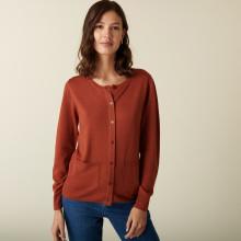 Cardigan boutonné col rond à poches en laine mérinos - Amalia 7461 cognac - 92 Rouille