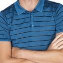 Polo manches courtes raye Gaston bleu moyen