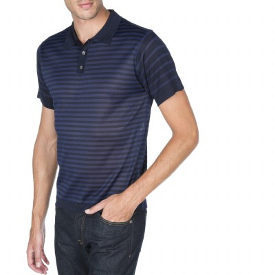 Short sleeved polo with stripes Fil Lumière Aldo