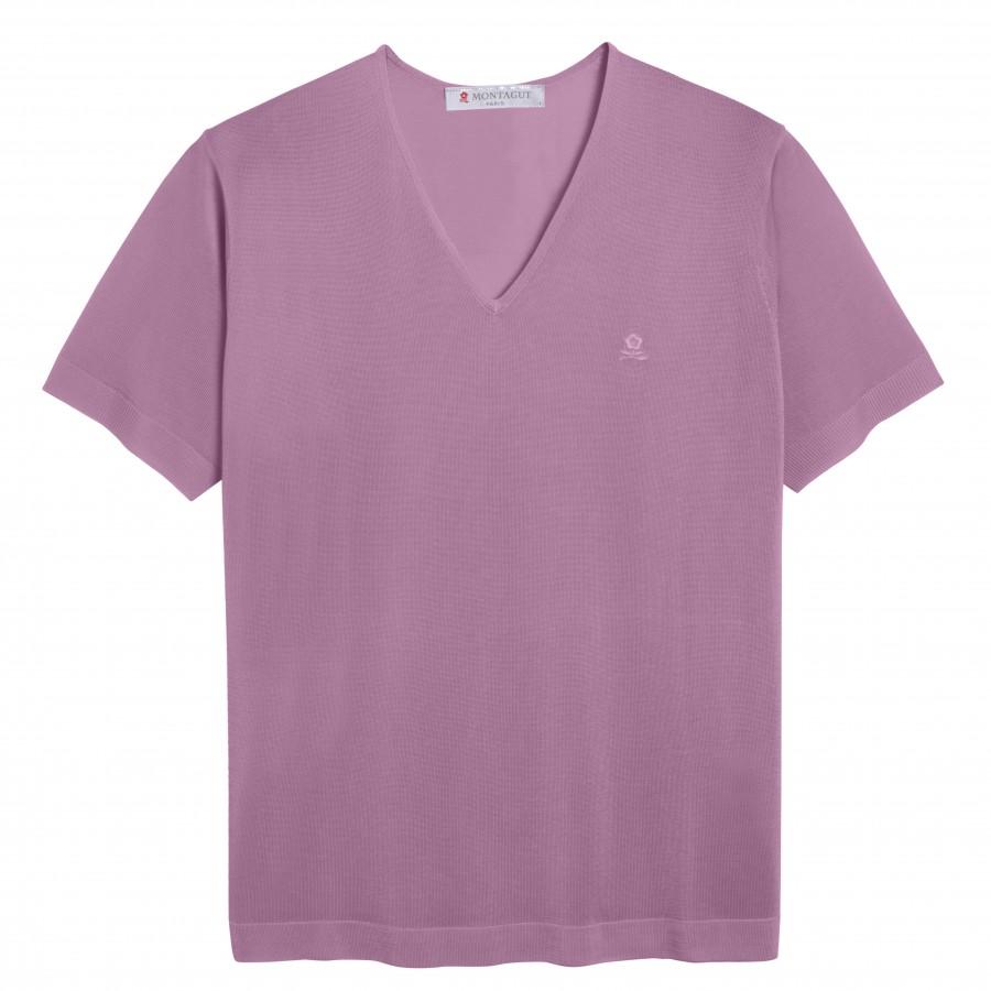 Tshirt col v manches courtes Fil Lumière Débora violet clair