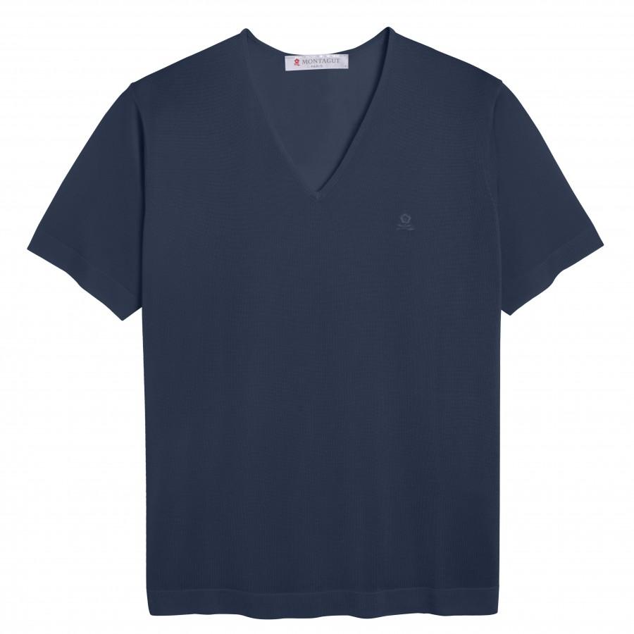 Tshirt col v manches courtes Fil Lumière Débora MARINE