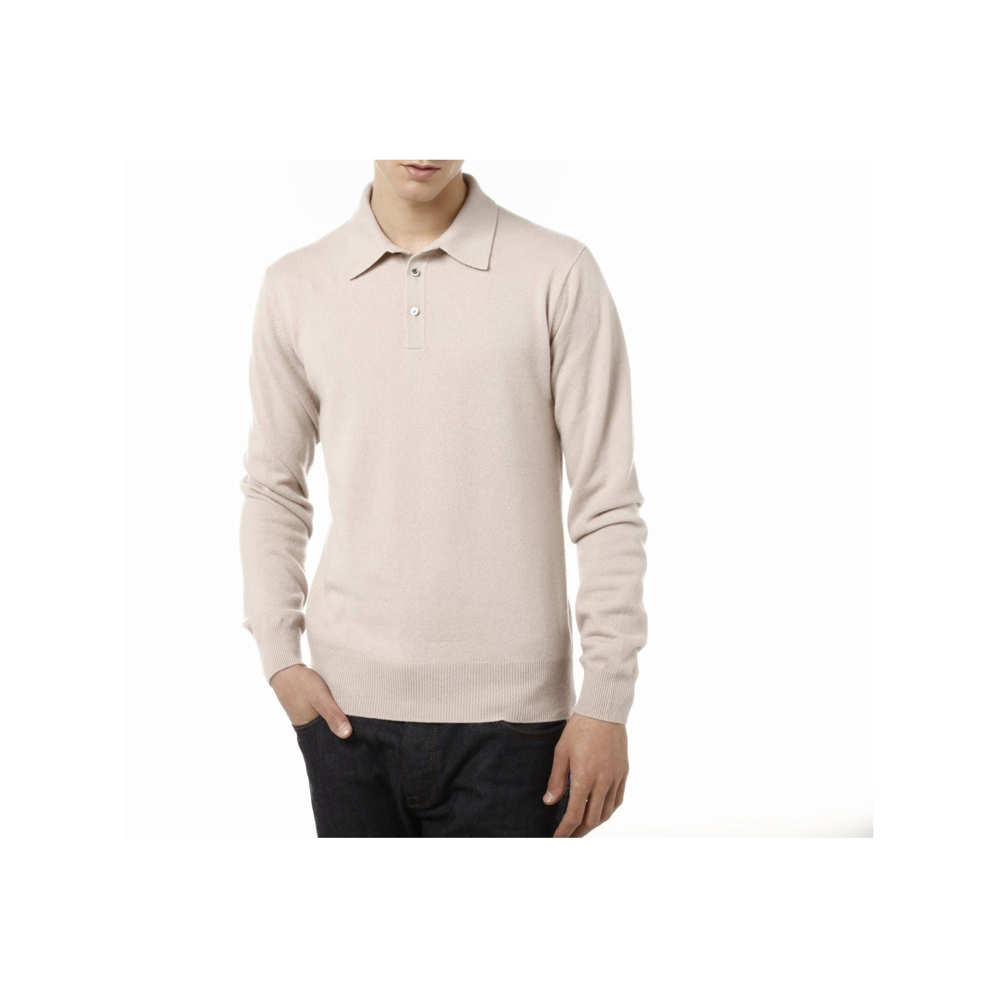 56a48fe09c6f Pull col polo en cachemire Charlie BEIGE CLAIR