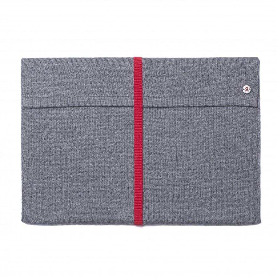 Pochette iPad en maille Montagut noir chiné tres clair