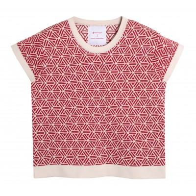 T-shirt femme rouge manches courtes Montagut x Benjamin Juveneton