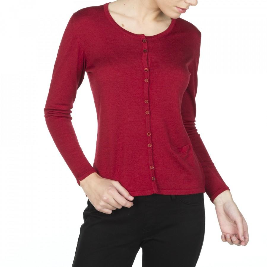 Cardigan laine et soie avec poche Fanélie Rouge foncé