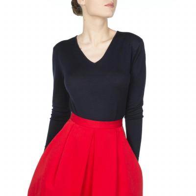 Pull col V pour femme 100% laine Félicitée