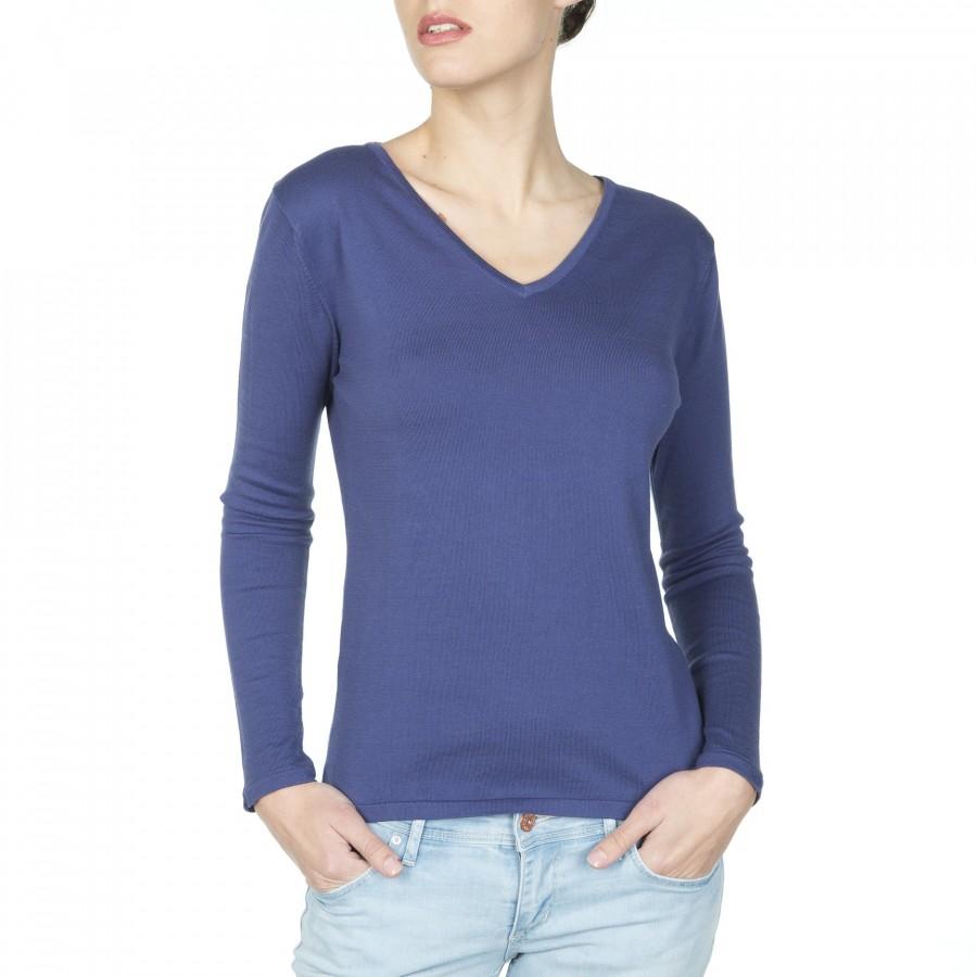 T-shirt coton col V manches longues Felixia bleu foncé