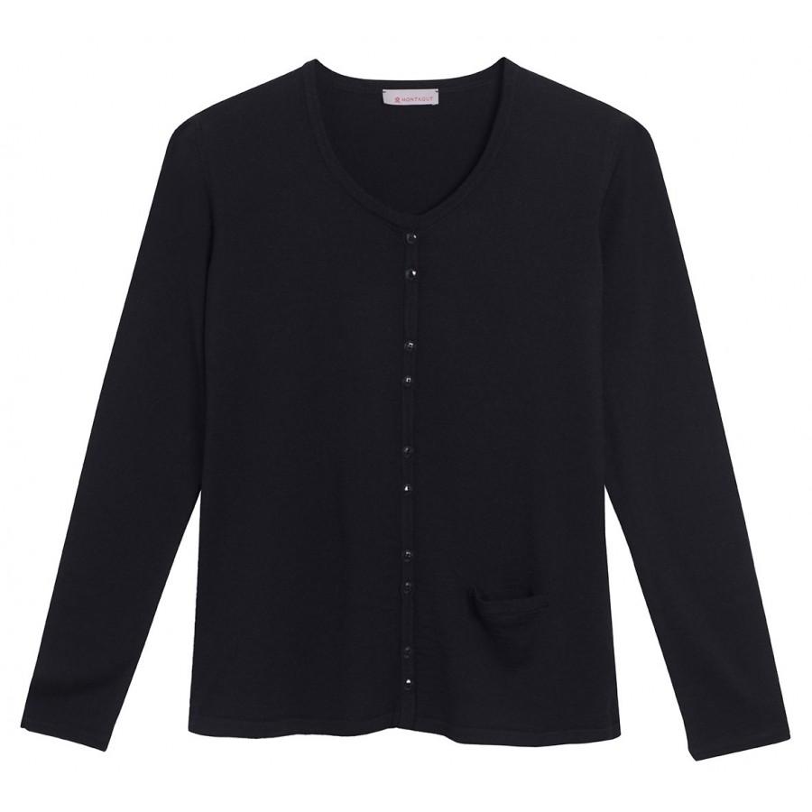 Cardigan laine et soie avec poche Fanélie noir