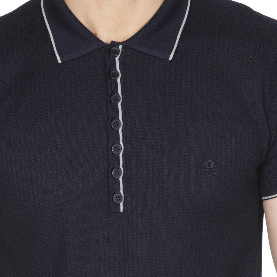 Polo homme maille fantaisie Hilaire Marine