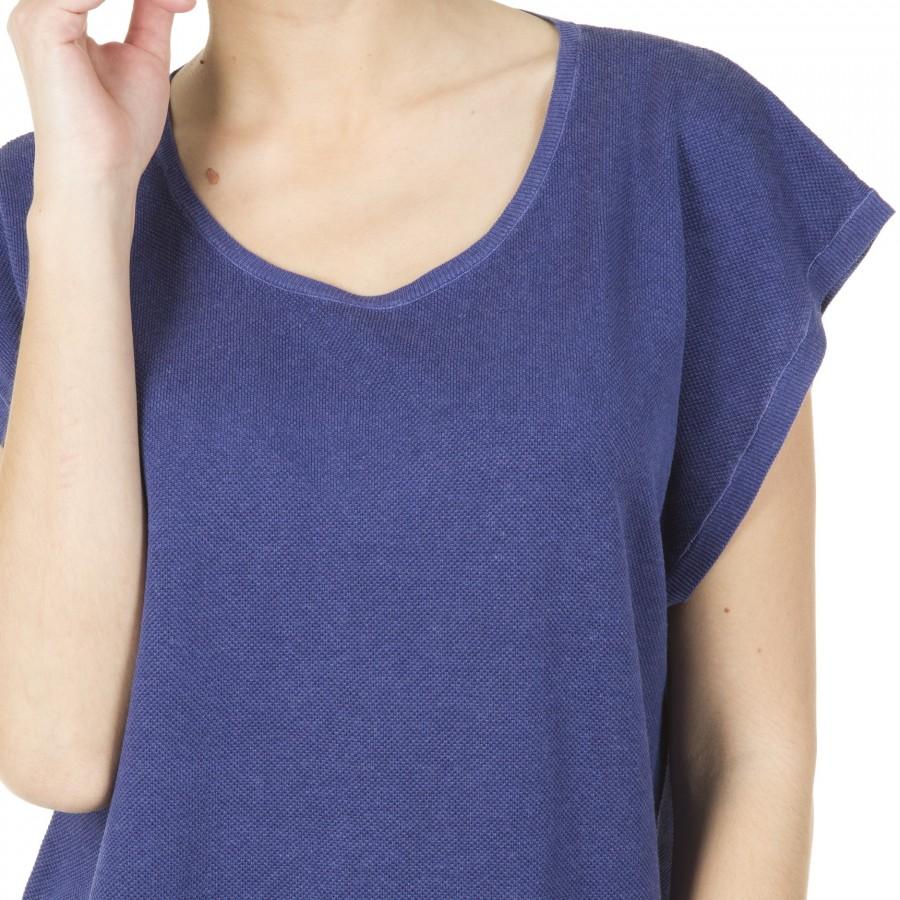T-shirt femme sans manches soie lin Harmonie bleu moyen