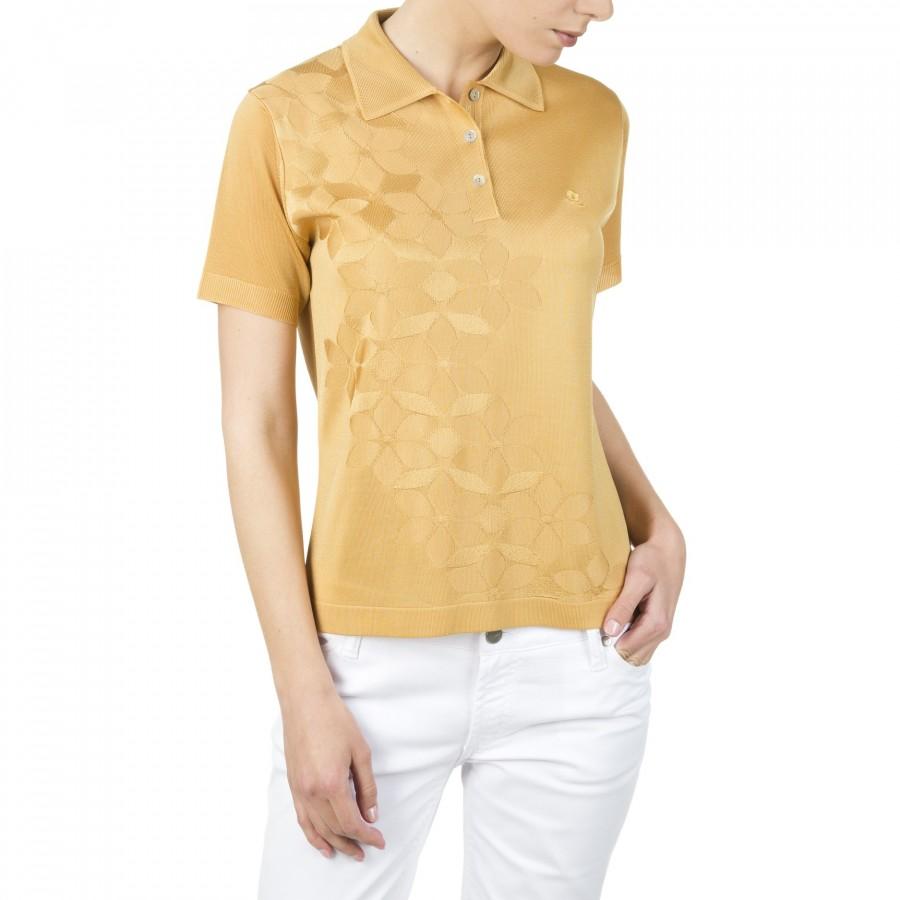 Polo femme motif fleurs en Fil Lumière Ilana beige moyen 0639 kraft