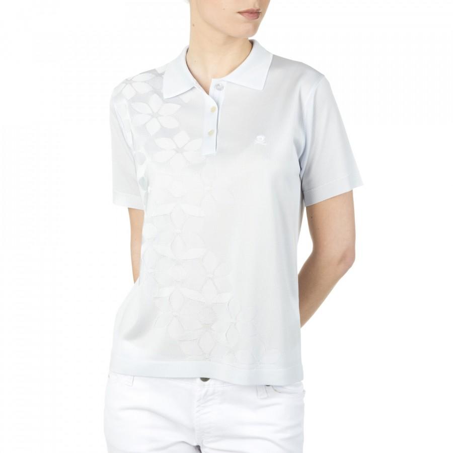 Polo femme motif fleurs en Fil Lumière Ilana gris clair 4505 ice