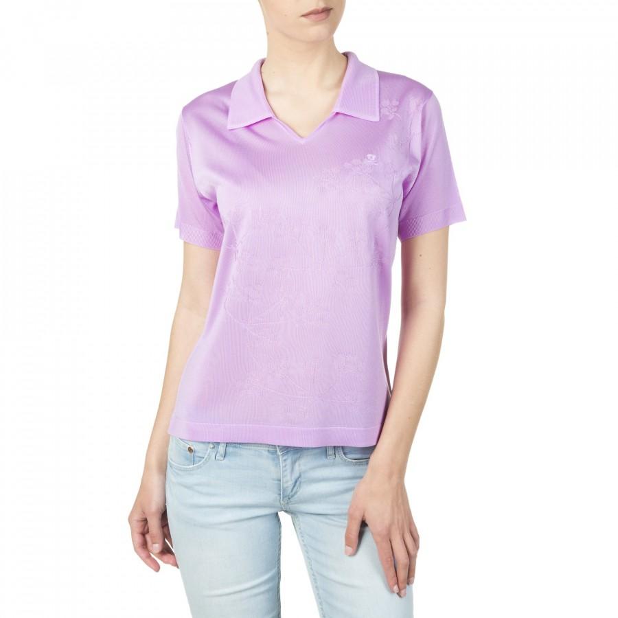 T-shirt femme en fil Lumière motif fleurs Isaline violet 1580 mauve