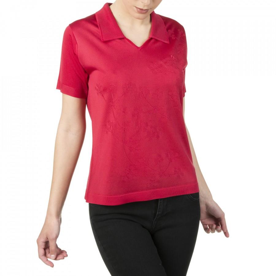 T-shirt femme en fil Lumière motif fleurs Isaline rouge 1762 cherry